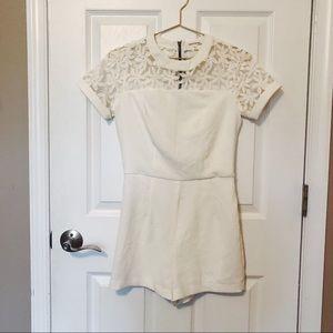Monteau White Floral Short Romper - S